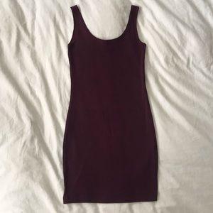 Maroon Ribbed Bodycon Mini Dress